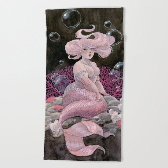 Pink and pearls mermaid Beach Towel