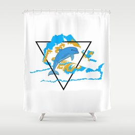 Dolphin in water element Shower Curtain
