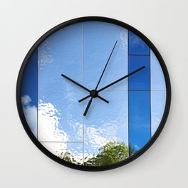Beautiful abstract background of reflection in mirrored wall Wall Clock