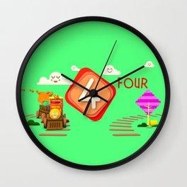Number four - Kids Art Wall Clock