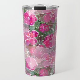 Raspberry, pink flowers on a green background. Travel Mug
