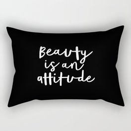 Beauty is an Attitude black and white monochrome typography poster design home wall bedroom decor Rectangular Pillow