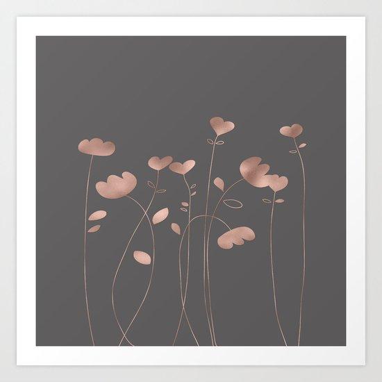 Rosegold pink flowers- floral design- Flower Art Print