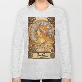 Alphonse Mucha Zodiac La Plume Long Sleeve T-shirt