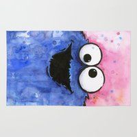 cookie monster Area & Throw Rugs featuring Cookie Monster by Olechka
