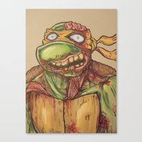 ninja turtle Canvas Prints featuring zombie ninja turtle by mileshustonart