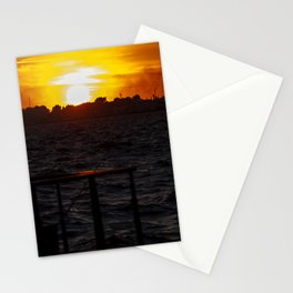 Man fishing at seaside in Izmir during sunset Stationery Cards