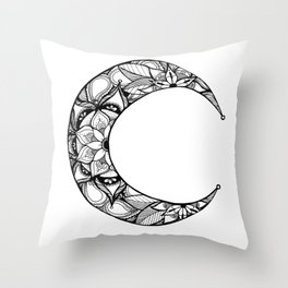 Henna Moon Throw Pillow