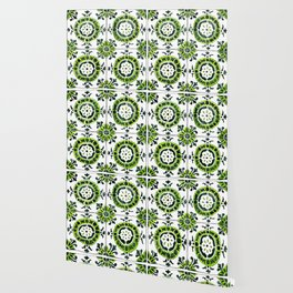 Green and White Circular Portuguese Tile Wallpaper