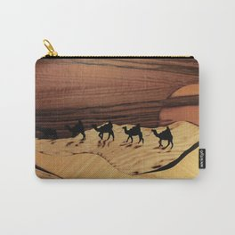 Desert or Sahara of wood marquetry art landscape picture Carry-All Pouch