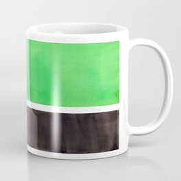 Abstract Midcentury Modern Minimalism Pop Art Colorful Emerald Green Black Squares Rothko Coffee Mug