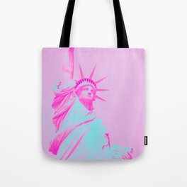 Magenta Pop-Art Statue of Liberty Tote Bag