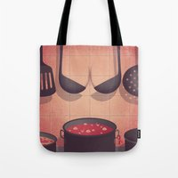 boobs Tote Bags featuring Boobs Kitchen by Davide Bonazzi