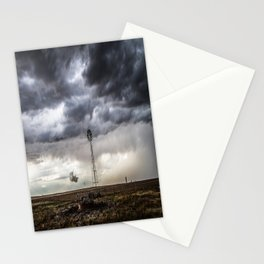 No Man's Land - Windmill on Stormy Day in Oklahoma Panhandle Stationery Cards