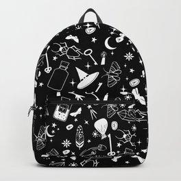 White magic alchemy symbols Backpack