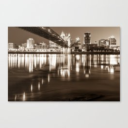 Over the Ohio River - Cincinnati Skyline in Sepia Canvas Print