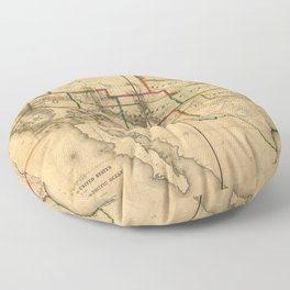 Western United States Territory Map (1858) Floor Pillow