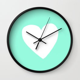Mint Heart Wall Clock