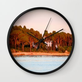 Sunset Over The Lerins Islands Wall Clock