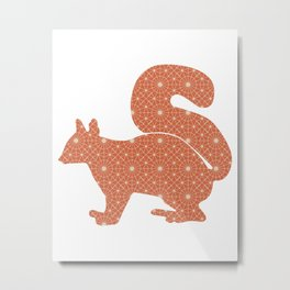 SQUIRREL SILHOUETTE WITH PATTERN Metal Print