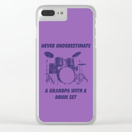 Never Underestimate A Grandpa With A Drum Set Funny Drums Vintage Drummer Distressed Clear iPhone Case