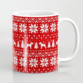 Wire Fox Terrier Silhouettes Christmas Sweater Pattern Coffee Mug