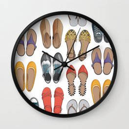 Hard choice // shoes on white background Wall Clock
