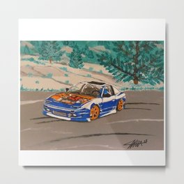 blue nissan 240sx Metal Print