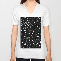 polkadot V-neck T-shirts featuring Polkadot Black Pattern by Pan Lis