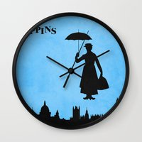 mary poppins Wall Clocks featuring Mary Poppins by TheWonderlander