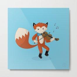 Forrest Fox Fiddles Fast Metal Print