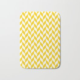 Yellow Herringbone Pattern Bath Mat