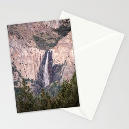 Sunset on Bridalveil Fall in Yosemite National Park Stationery Cards