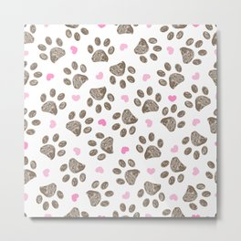 Doodle brown paw prints with pink hearts seamless vector pattern for fabric design Metal Print