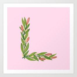 Leafy Letter L Art Print