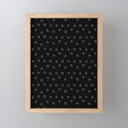 black gaming pattern - gamer design - playstation controller symbols Framed Mini Art Print