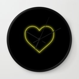 Yellow Neon Valentines Love Heart Wall Clock