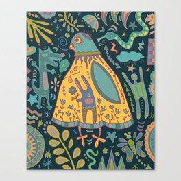 Chatty Yellow Bird Canvas Print