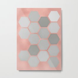 Honeycomb on Rose Gold Metal Print