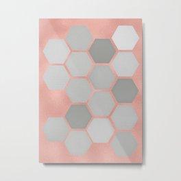 Honeycomb on Rose Gold Metal Print