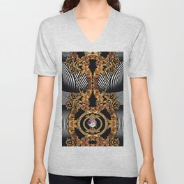 Baroque Inspired Luxury Stripes Golden DECORATIVE EUROPEAN Design Unisex V-Neck