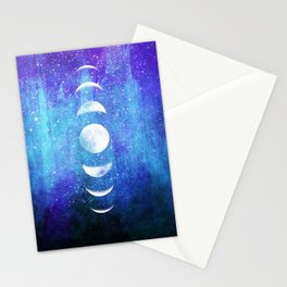 Lunar Cycle // Blue Purple Space Stationery Cards