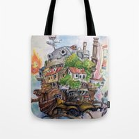 calcifer Tote Bags featuring Howls Moving Castle Painting 2 by Little Miss Marikit