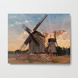 Traditonal dutch windmills at sunrise Metal Print