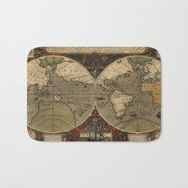 Vintage Map of The World (1595) Bath Mat