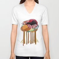 card V-neck T-shirts featuring Red Panda by Sandra Dieckmann