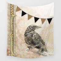 crow Wall Tapestries featuring Crow by Donna M Condida