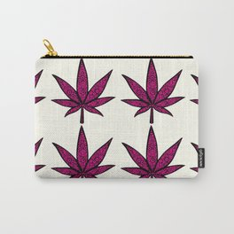 Filigree Floral Cannabis Leaf- 4x4 tile Pink Carry-All Pouch