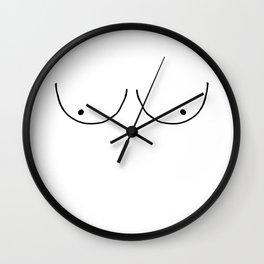 b&w boobs Wall Clock
