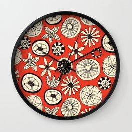 summer flowers fire Wall Clock